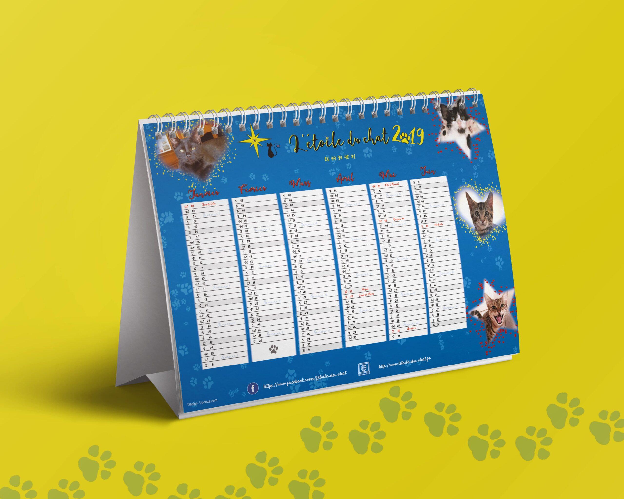 calendrier l'Étoile du chat recto