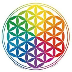 fleur de vie colorée symbole spirituel géométrie sacrée