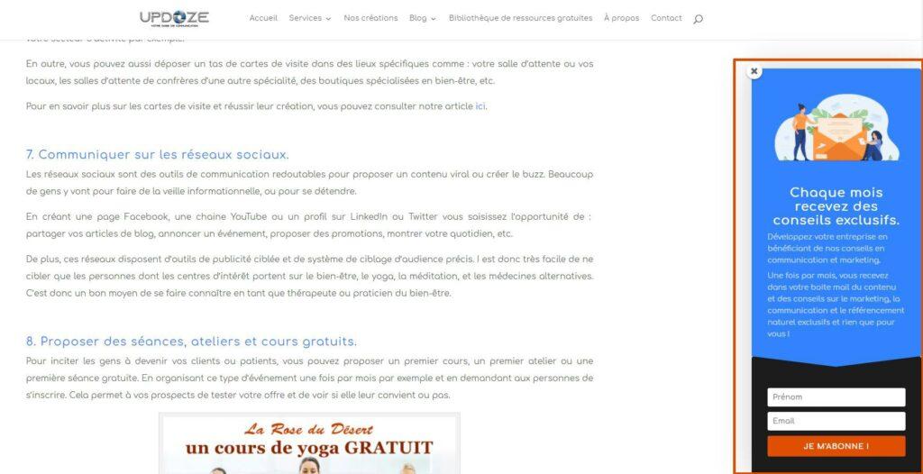 pop up newsletter faire connaitre votre site internet professionnel