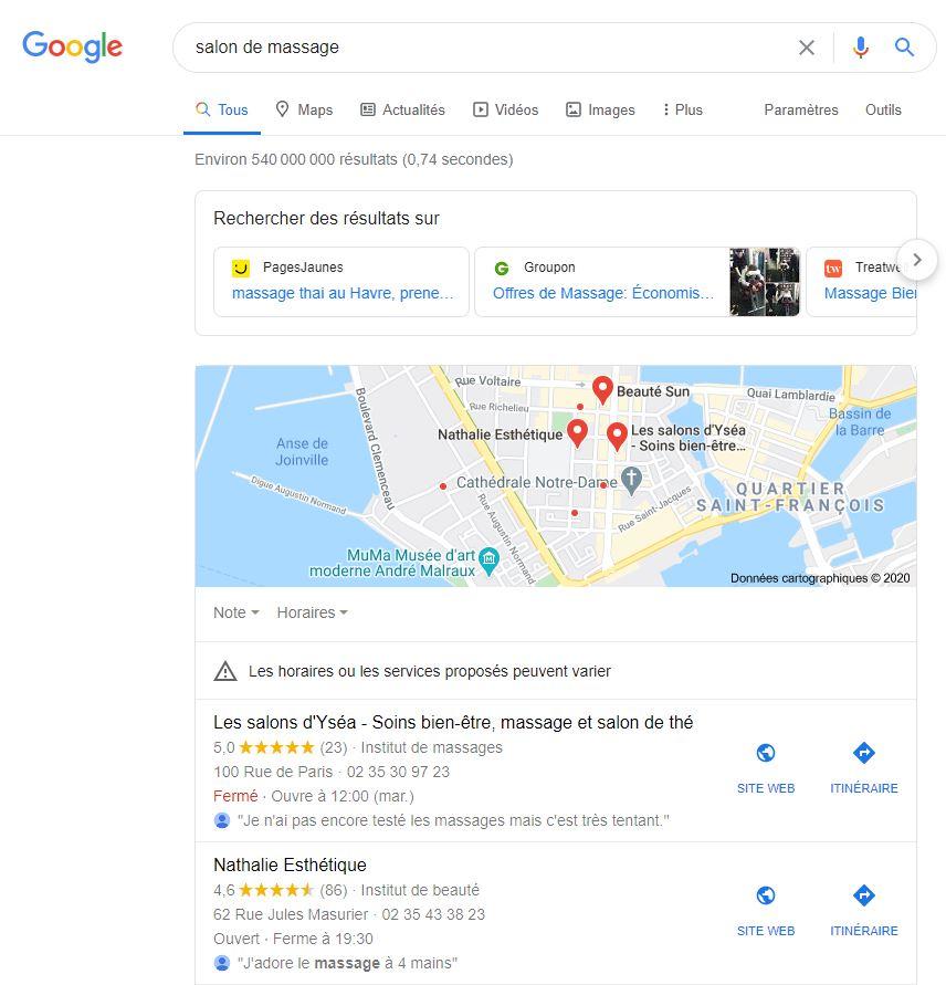 référencement local thérapeute praticien bien-être résultat google