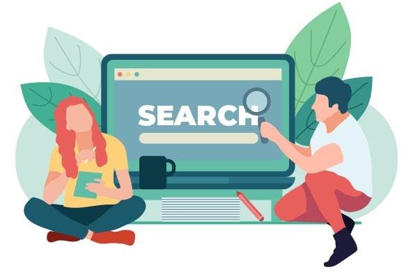 illustration ordinateur et deux personnes pour le référencement naturel thérapeute et praticien bien-être