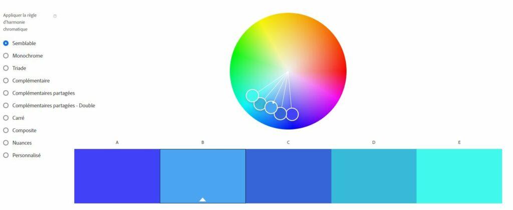 Contraste de couleur bleu roue chromatique monochrome